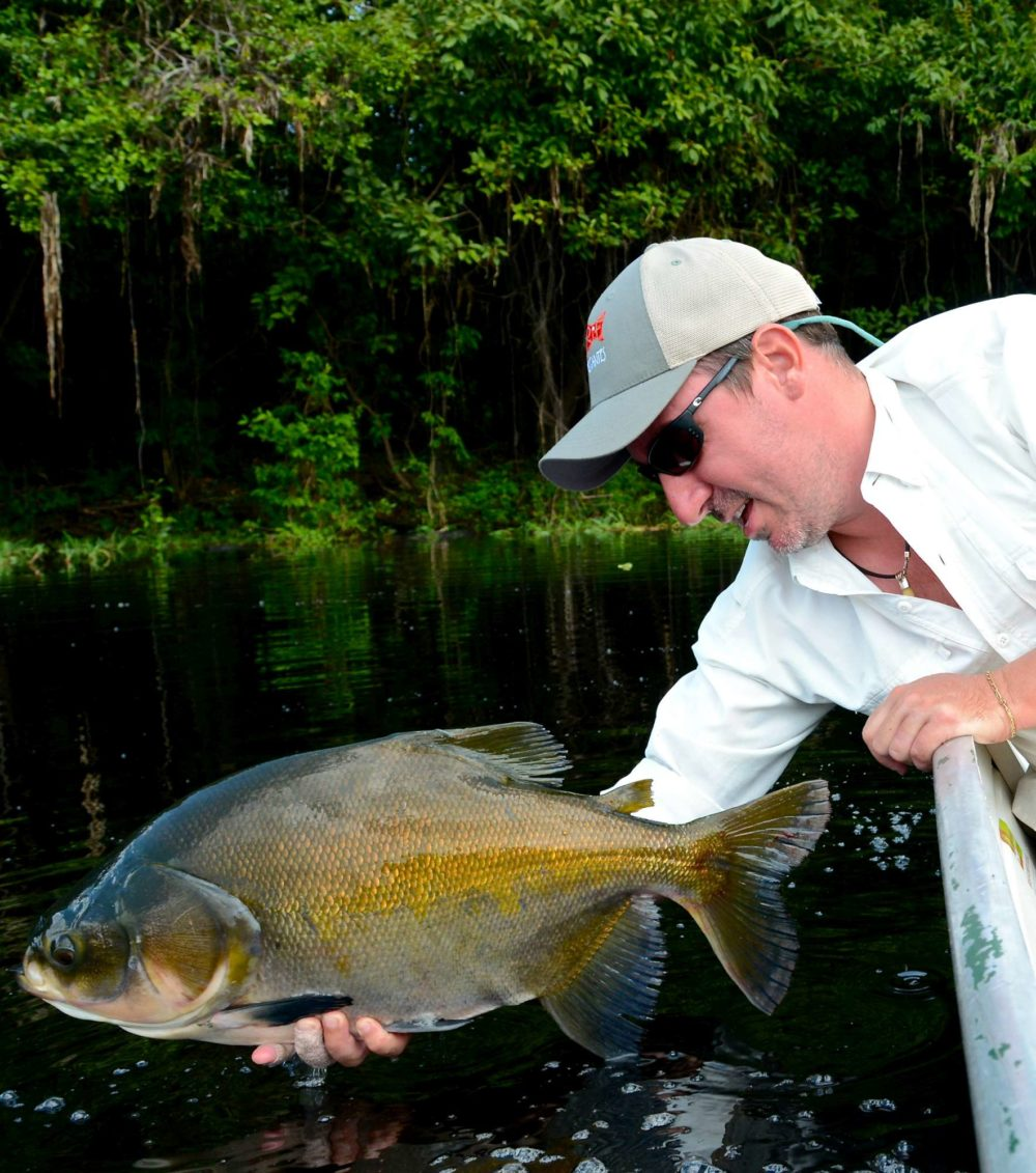 Pirarucu lodge, arapaima fishing, arapaima fly fishing, arapaima on the fly, flies for arapaima, untamed angling, jungle fishing, fishing Brazil, aardvark mcleod