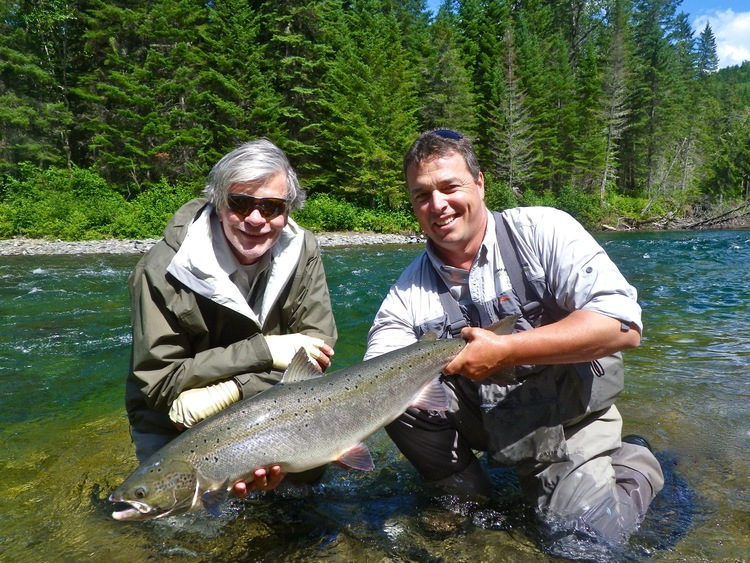 Stewart Seibens and Camp Bonaventure guide Matt Flowers, Nice fish Stewart!