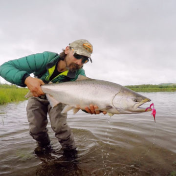 Goodnews River Lodge, Alaska Fly Fishing, Salmon Fly Fishing Alaska, Aardvark McLeod